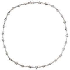 Hearts and Stars White Gold Diamond Necklace