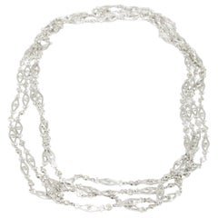 Platinum Diamond 7.23 Carat Necklace Art Deco Style