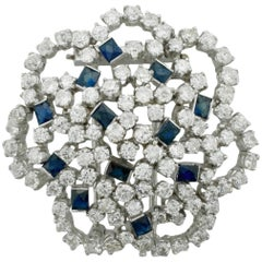 Platinum Sapphire and Diamond Brooch 9.25 Carat, circa 1950s