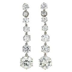 Edwardian Platinum 7.86 Carat Diamond Earring Jackets