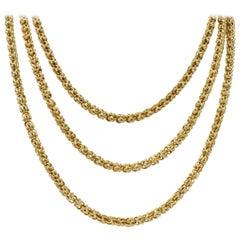 Victorian 15 Karat Gold Long Chain Necklace