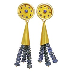 Blue Star Sapphire and Kyanite Bead Tassel 14 Karat Gold Dangle Earrings