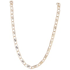 18 Karat Yellow Gold Solid Open Elongated Oval Link Necklace, 91.0 Grams