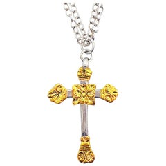 Keum-Boo 24 Karat Gold and Sterling Silver Cross Pendant Chain Necklace