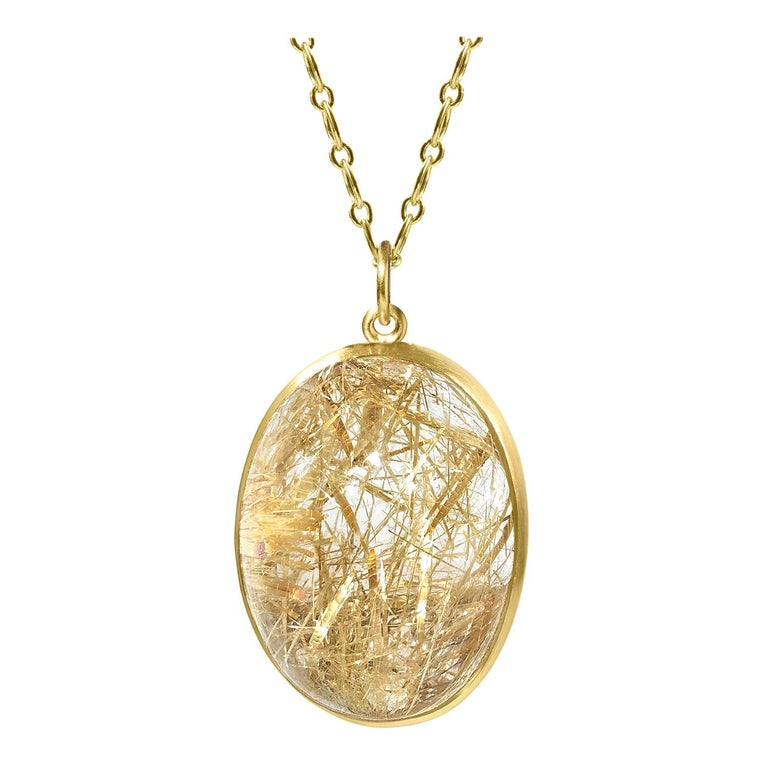 Monica Marcella Golden Rutilated Quartz Egg One of a Kind Pendant Drop Necklace For Sale