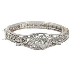 Platinum Diamond Bangle 8.40 Carat Flower Motif