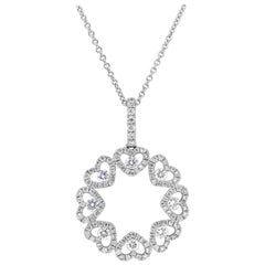 Open-Work Diamond Heart Shape Circle Pendant Necklace