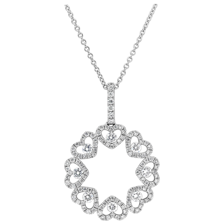Roman Malakov, Open-Work Diamond Heart Shape Circle Pendant Necklace