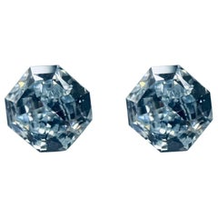 GIA Certified 2.76 Carat TW Radiant Natural Fancy Light Greenish Blue Diamonds