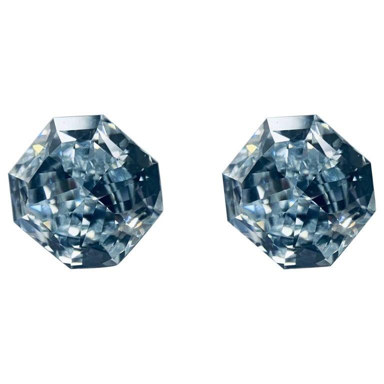 GIA Certified 2.76 Carat TW Radiant Natural Fancy Light Greenish Blue Diamonds For Sale
