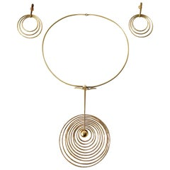Bent Gabrielsen Gold Danish Modern Concentric Circle Necklace Earrings Set