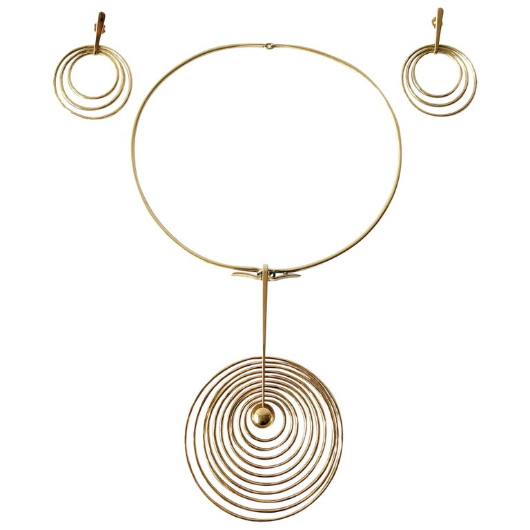 Bent Gabrielsen Gold Danish Modern Concentric Circle Necklace Earrings Set For Sale