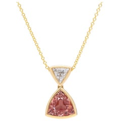 GIA No Heat 1.70 Carat Pinkish Orange Sapphire Diamond Necklace
