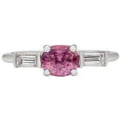 GIA No Heat 1.02 Carat Purplish-Pink Sapphire Diamond Ring