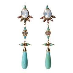Mociun Opal, Sunstone and Turquoise Earrings