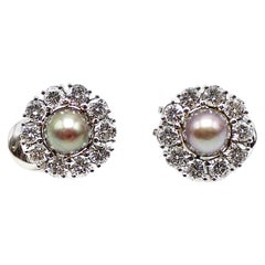 047273f99e781 Natural Saltwater Pearl Diamond Platinum Clip-on Earrings For Sale ...