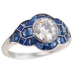 Diamond Sapphire and Platinum Ring of 0.96 Carat