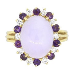 Round Diamond and Cabochon Lavender Jade Ladies Ring