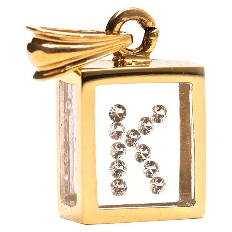 Incogem Floating Diamond Pendant: 14k Yellow Gold (Letter K) For Sale