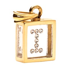 Incogem Floating Diamond Pendant: 14k Yellow Gold (Letter I)