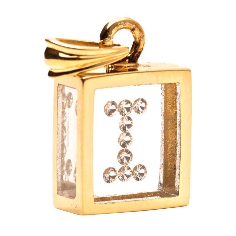 Incogem Floating Diamond Pendant: 14k Yellow Gold (Letter I) For Sale