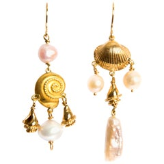 Pearls Shells Yellow Gold 18 Karat Dangle Drop Earrings