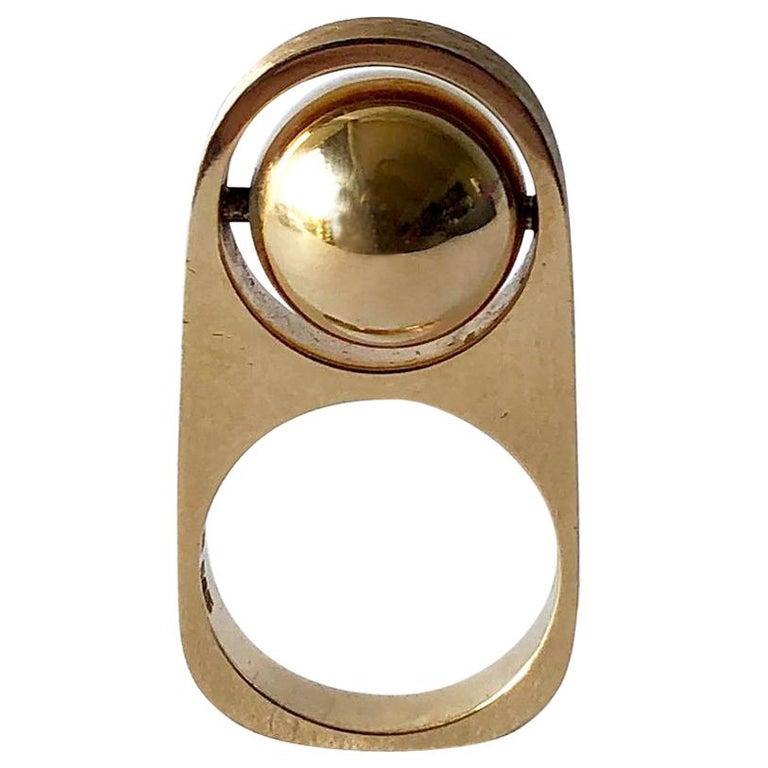 1970s Hans Hansen 14 Karat Gold Danish Modernist Rotating Kinetic Ball Ring For Sale
