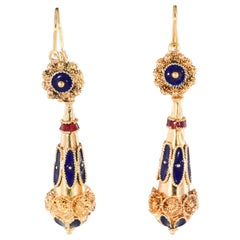 Vintage 22 Karat Gold Mogul Style Dangle Earrings with Red and Blue Enamel