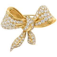 18 Karat Yellow Gold 3.75 Carat Diamond Bow Tie Brooch