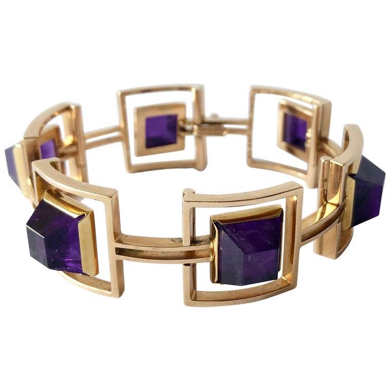 Bent Knudsen Bent K Gold Amethyst Danish Modernist Link Bracelet For Sale