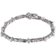 1.0 Carat Diamond Bracelet 14 Karat White Gold, 9.8 Grams