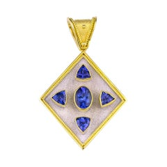 Georgios Collections Reversible 18 Karat Gold Tanzanite and Diamond Coin Pendant