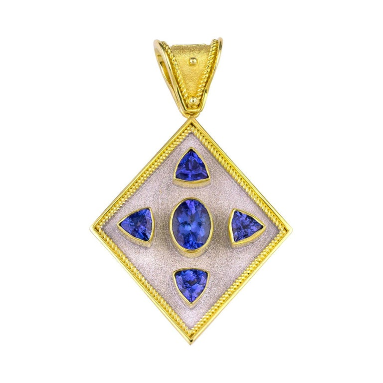Georgios Collections Reversible 18 Karat Gold Tanzanite and Diamond Coin Pendant For Sale
