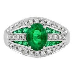 Zambian Emerald 1.30 Carat Diamond Cocktail Ring