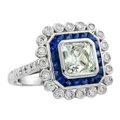 Old European Cut Diamond 1.77 Carat Blue Sapphire Engagement Ring