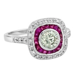 Fancy Colored Diamond Ruby Cocktail Ring