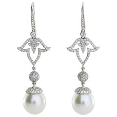 Autore White Gold White Diamonds South Sea Pearl Long Earrings
