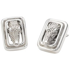Vintage Barry Kieselstein Cord Alligator Earrings Sterling Silver Square Clip