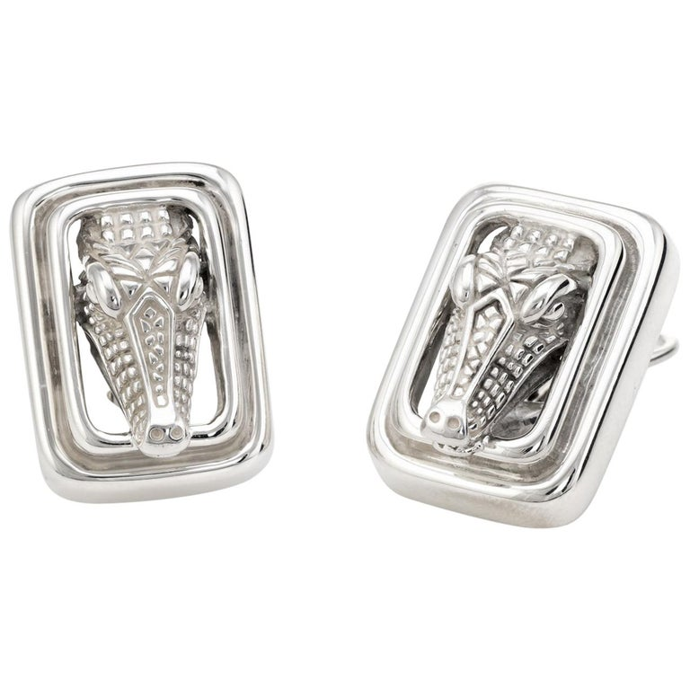 Vintage Barry Kieselstein Cord Alligator Earrings Sterling Silver Square Clip For Sale