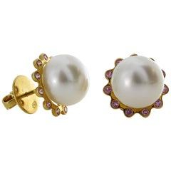 Autore Gold Sapphire South Sea Pearl Stud Earrings