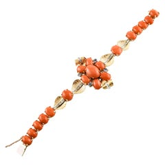 Corals, Diamonds, Iolite, Rose Gold Bracelet