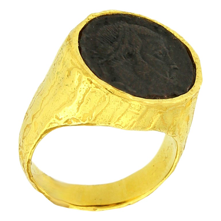 Sacchi Ancient Roman Coin Ring 18 Karat Yellow Gold Monete Signet Ring For Sale
