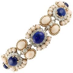 Diamonds,  Pink Corals, Lapis, 14 Karat White Gold Link Bracelet