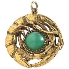 Antique Shrimp Jade Gold Pendant Necklace