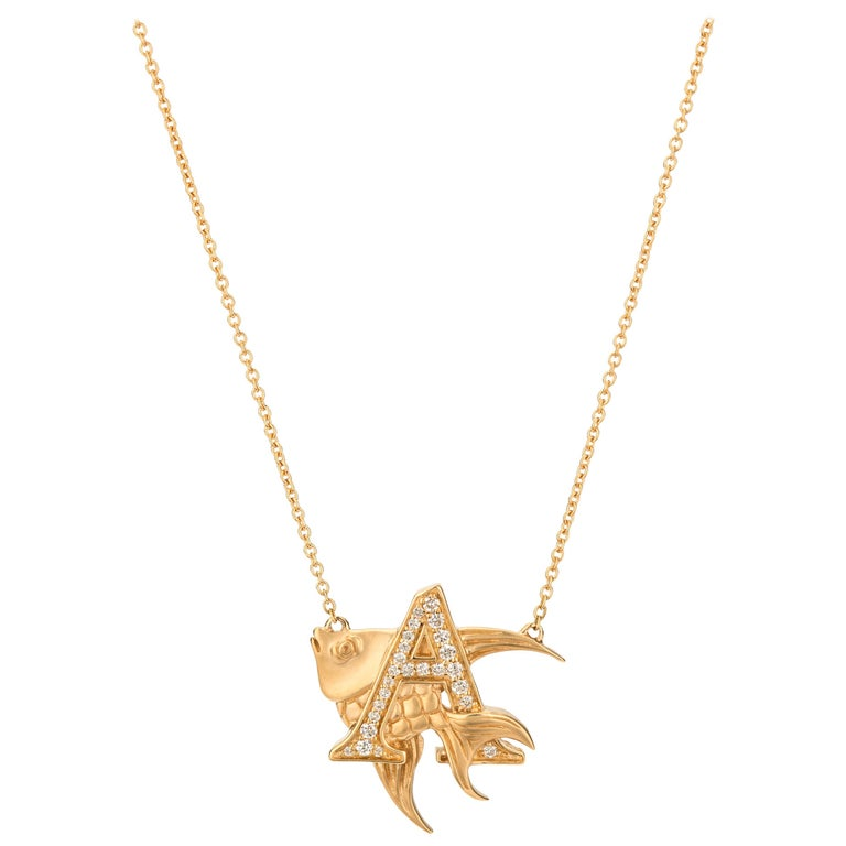 Stephen Webster Fish Tales A is for Angelfish 18K Gold and Diamond Necklace