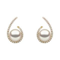 Yoko London Freshwater Pearl and Diamond Earrings Set in 18 Karat Yellow Gold