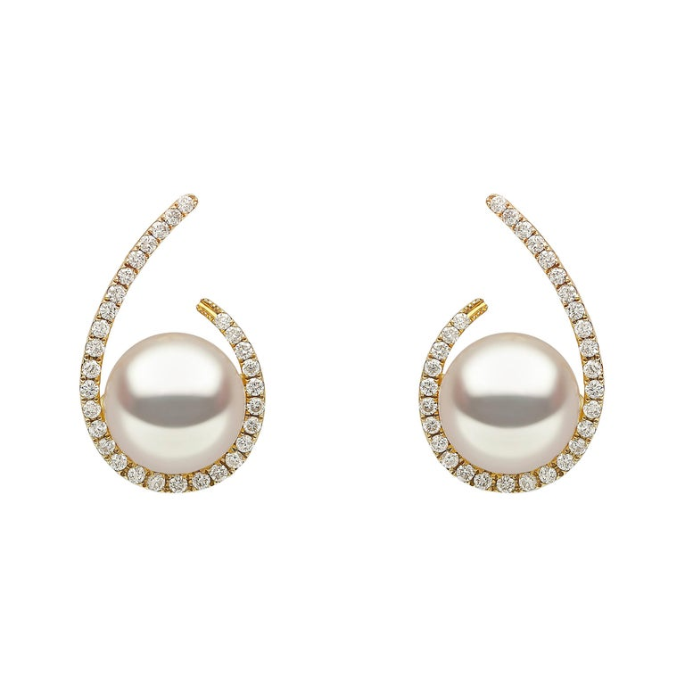 Yoko London Freshwater Pearl and Diamond Earrings Set in 18 Karat Yellow Gold For Sale