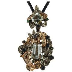 Aquamarine,Emeralds, Rubies, Sapphires, Diamonds,Rose Gold&Silver Retro Pendant