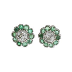 Diamond Emerald Floral Shape Stud Gold Earrings