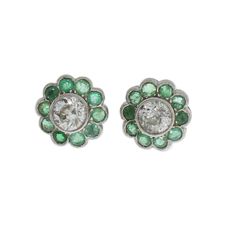 Diamond Emerald Floral Shape Stud Gold Earrings For Sale